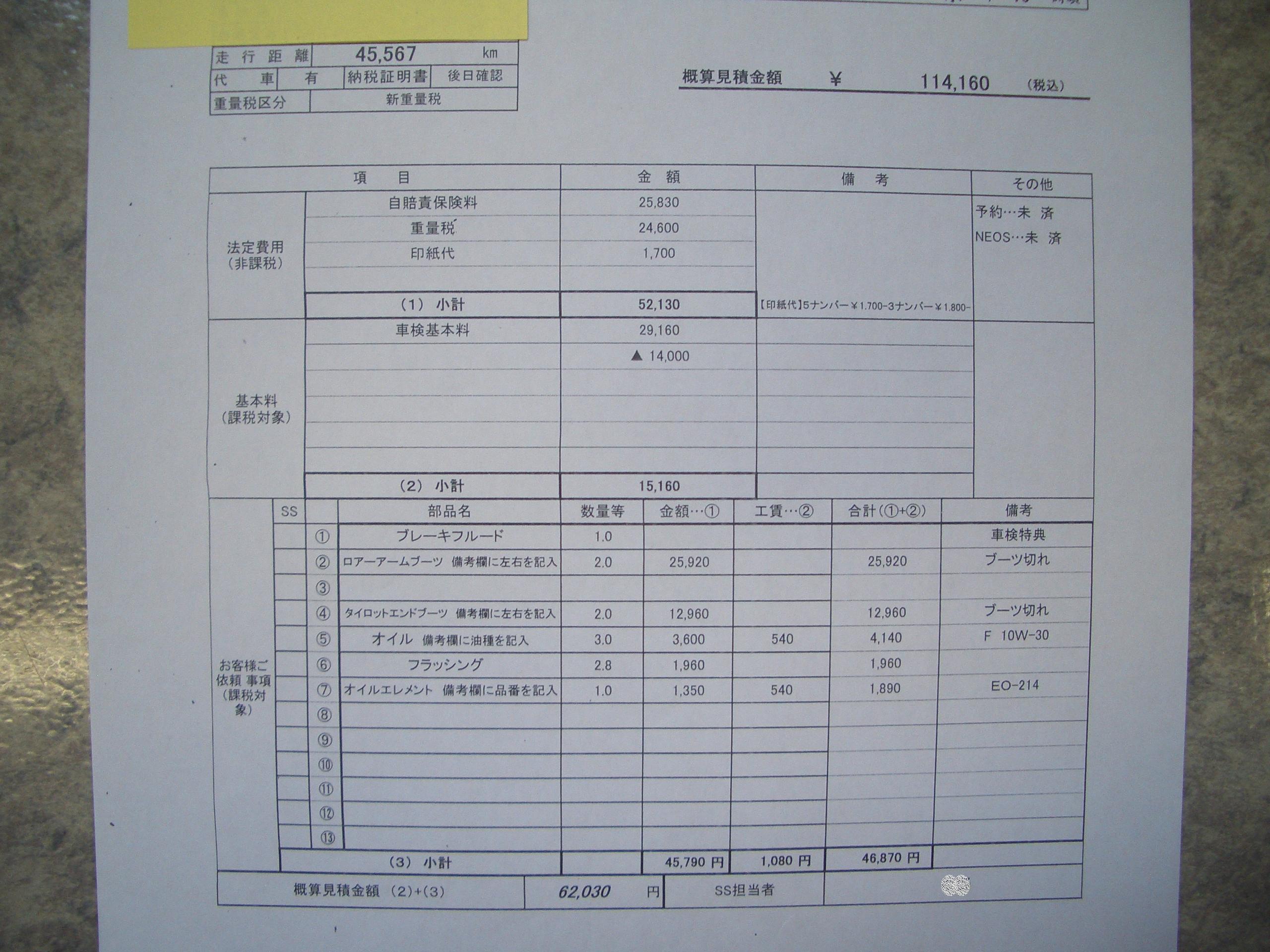 【見積り比較】車検費用を比べてみました☆あるガソリンスタンドさん編/車検のコバック越谷店